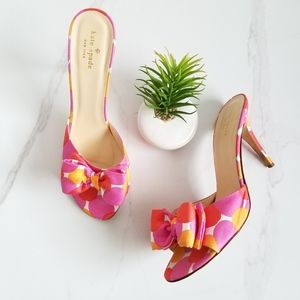 Kate Spade Heels Pink Open Toe Slide Sandals Bows